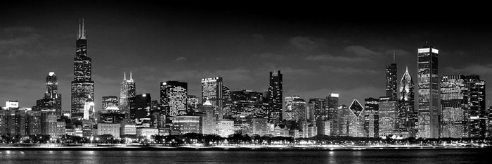 chicago-skyline-at-night-black-and-white-jon-holiday